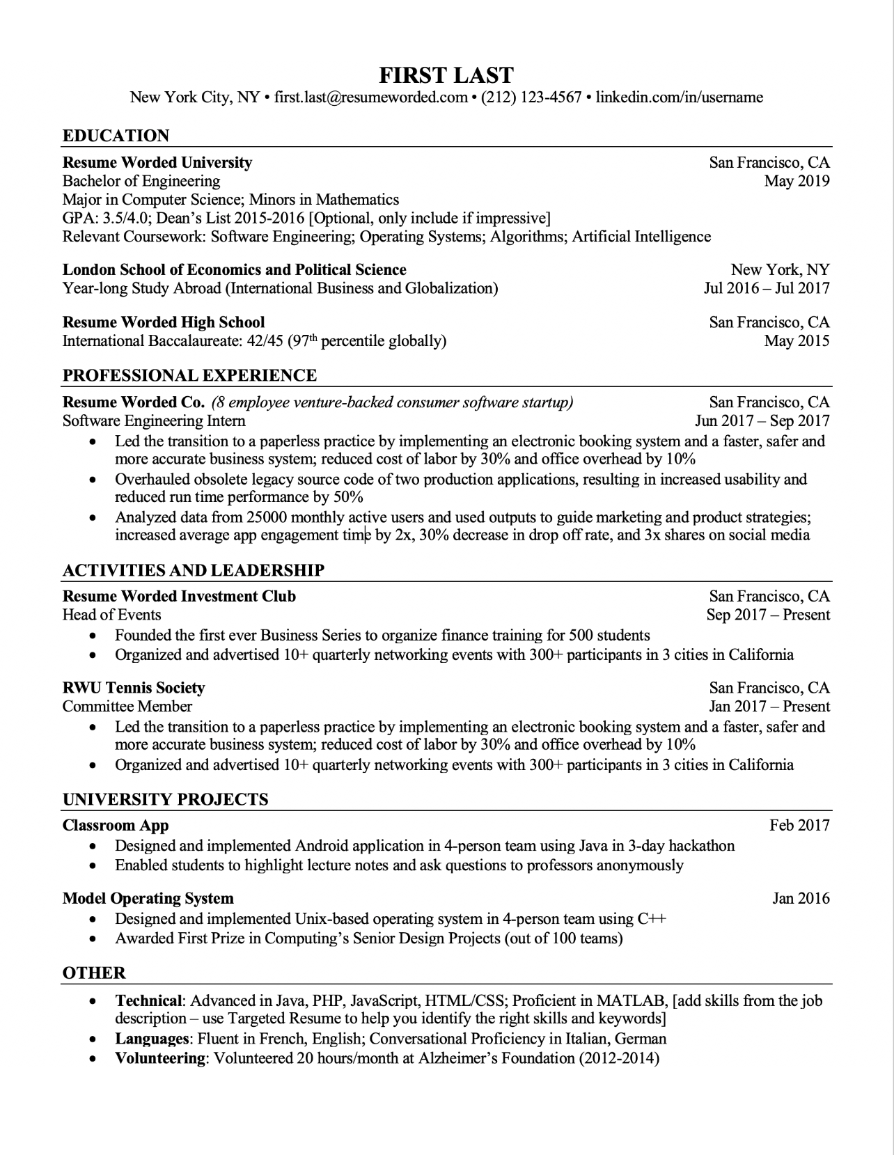 resume template little work experience  Professional ATS Resume Templates for Experienced Hires ..