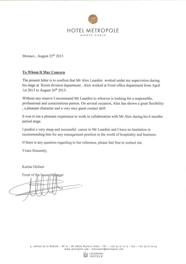 hotel work experience letter  Reference Letter Hotel Metropole - hotel work experience letter
