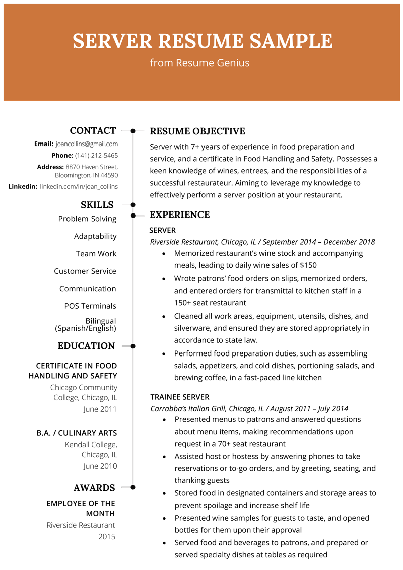 experienced candidate work experience resume sample  Server Resume Example & Writing Tips | Resume Genius - experienced candidate work experience resume sample