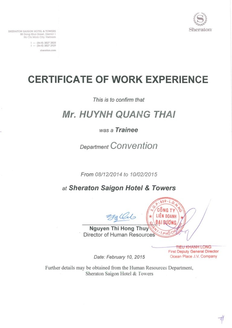 work experience certificate format pdf  Sheraton Work Experience Certificate - work experience certificate format pdf