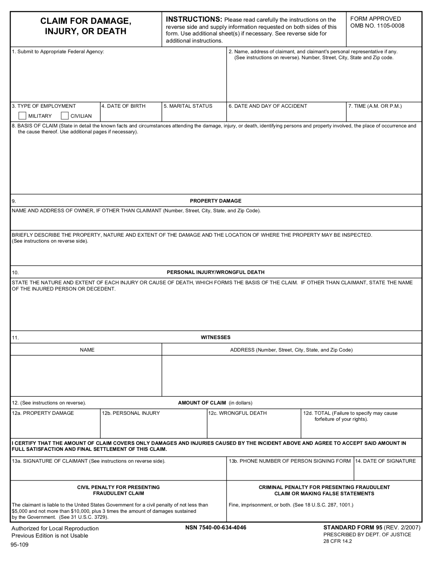 claim form 95  Tort Claim Form - FTCA Federal Tort Claims Act SF-95 ..