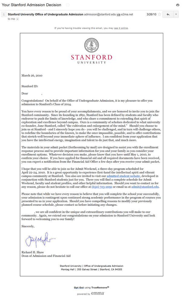 stanford acceptance letter 2020  What does a Stanford letter of acceptance to undergraduate ..