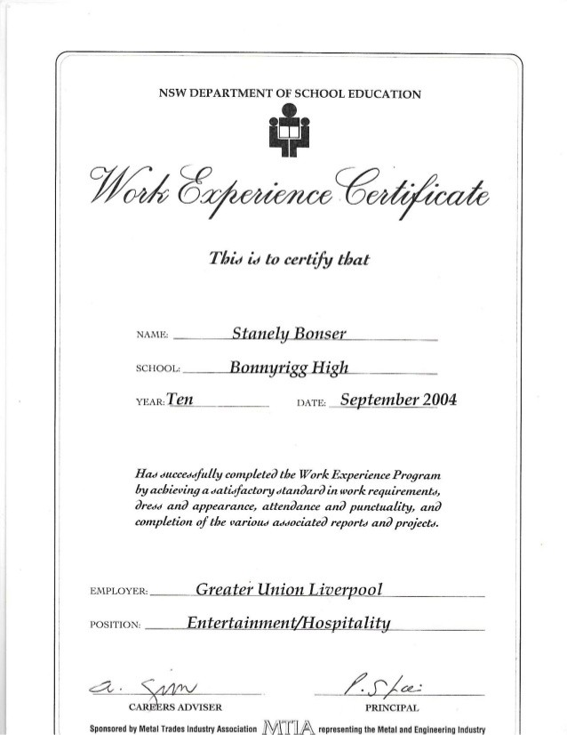 work experience store keeper experience certificate  Work Experience Certificate (Greater Union) - work experience store keeper experience certificate