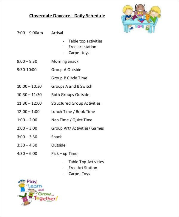 daily schedule template toddler for daycare  10+ Daycare Schedule Templates - Sample, Examples | Free ..