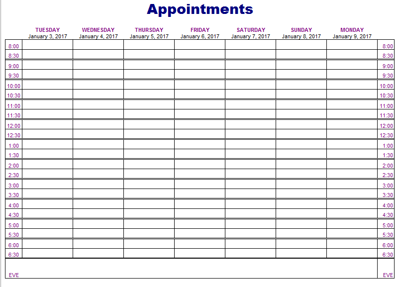 appointment schedule template free  5 Free Appointment Schedule Templates in MS Word and MS Excel - appointment schedule template free