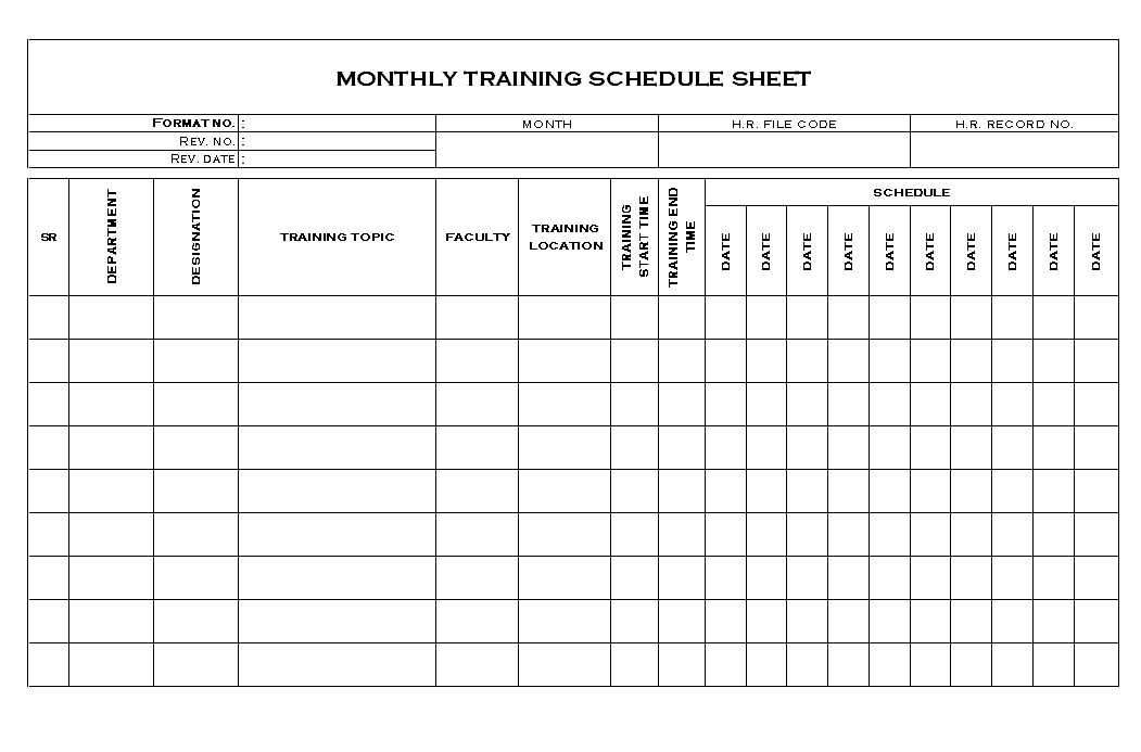 Monthly Training Schedule Template Excel 2 Unbelievable ...
