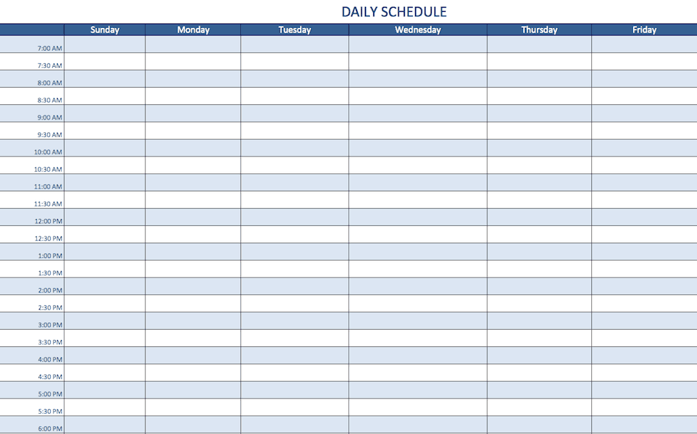 daily schedule grid template  Free Excel Schedule Templates for Schedule Makers - daily schedule grid template