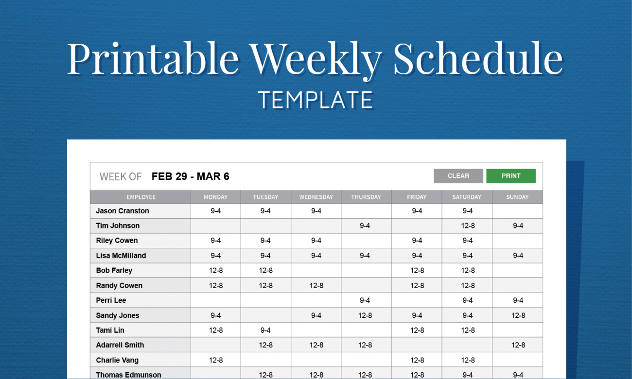 a work schedule template  Free Printable Weekly Work Schedule Template For Employee ..