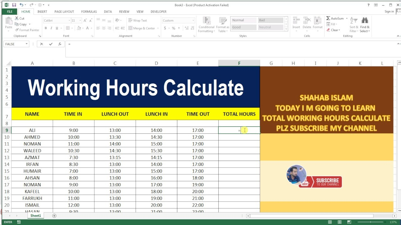 work schedule template that calculates hours  WORKING HOURS CALCULATE # 18 BASIC EXCEL SHEET - YouTube - work schedule template that calculates hours