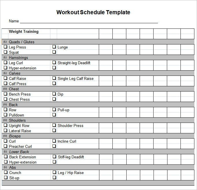 gym schedule template excel  Workout Schedule Template - 27+ Free Word, Excel, PDF ..