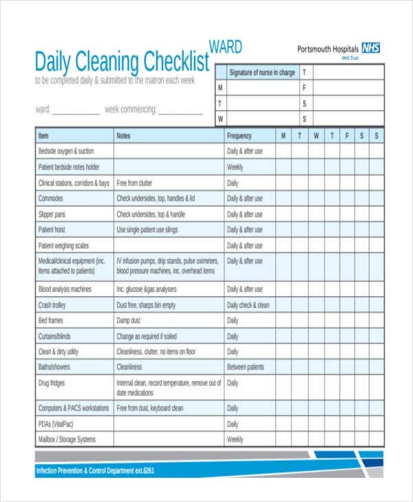 nhs cleaning schedule template  32 Checklist Templates in PDF | Free & Premium Templates - nhs cleaning schedule template