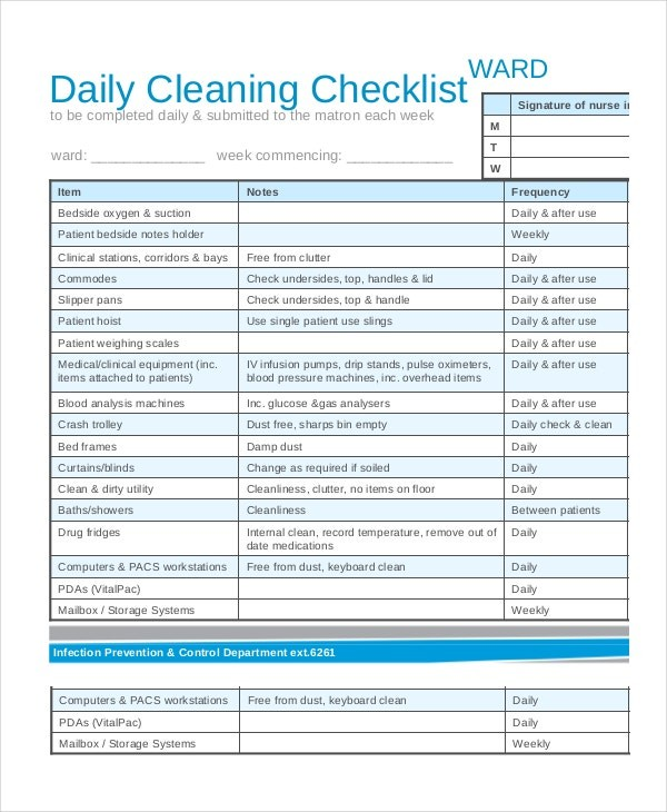 nhs cleaning schedule template  Cleaning Checklist - 31+ Word, PDF, PSD Documents Download ..