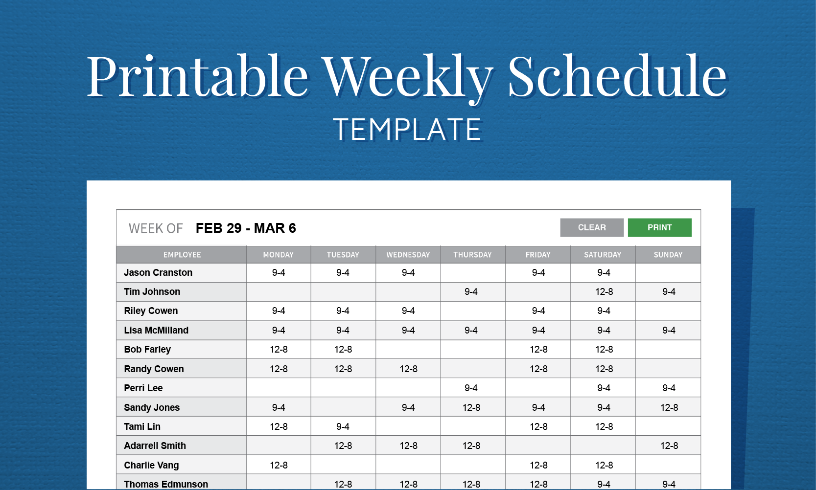 template for a weekly work schedule  Free Printable Weekly Work Schedule Template For Employee ..