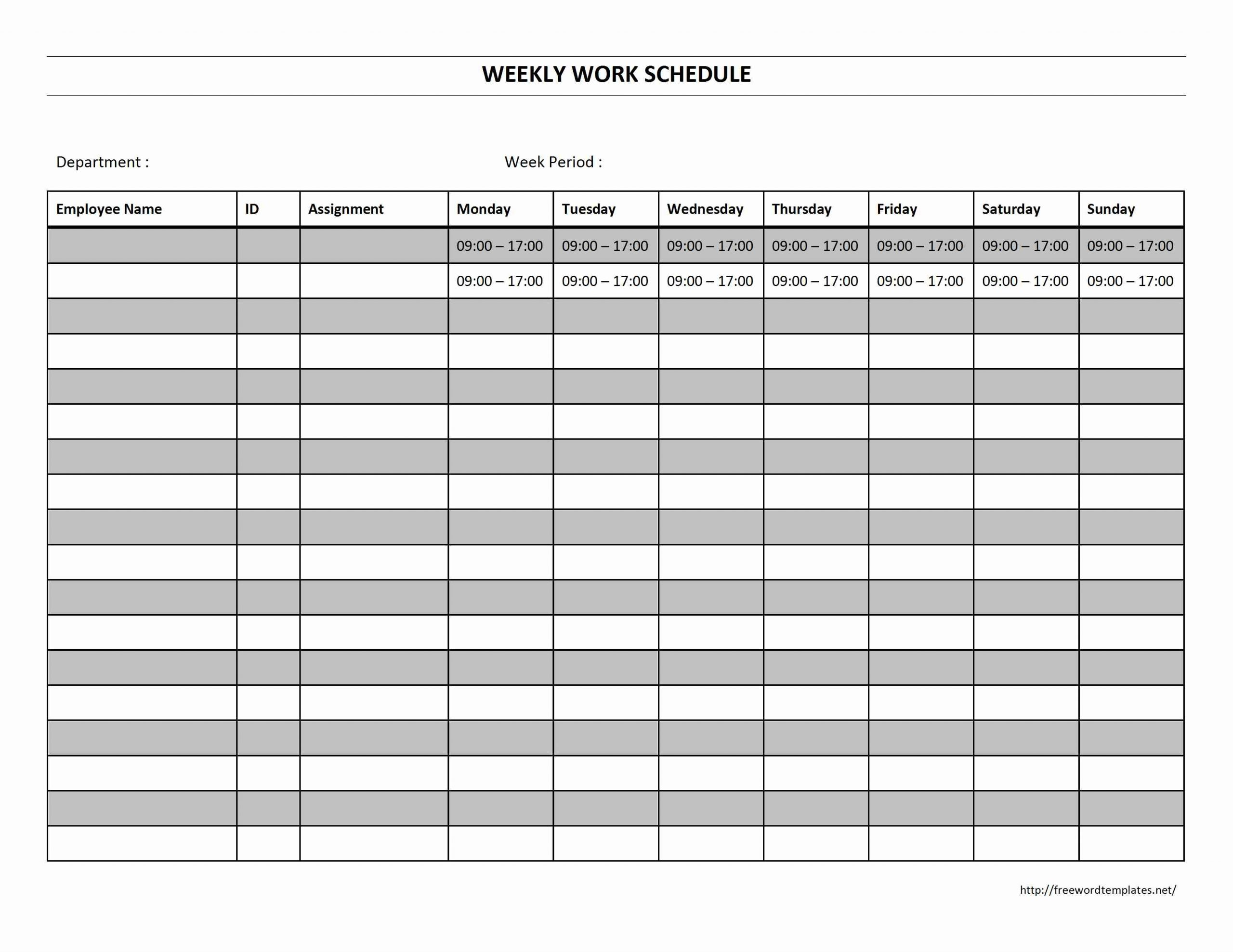 template for a weekly work schedule  Weekly Work Schedule   Freewordtemplates