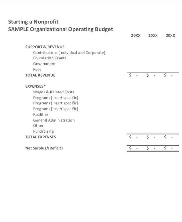 nonprofit operating budget template excel  14+ Nonprofit Budget Templates - Word, PDF, Excel | Free ..