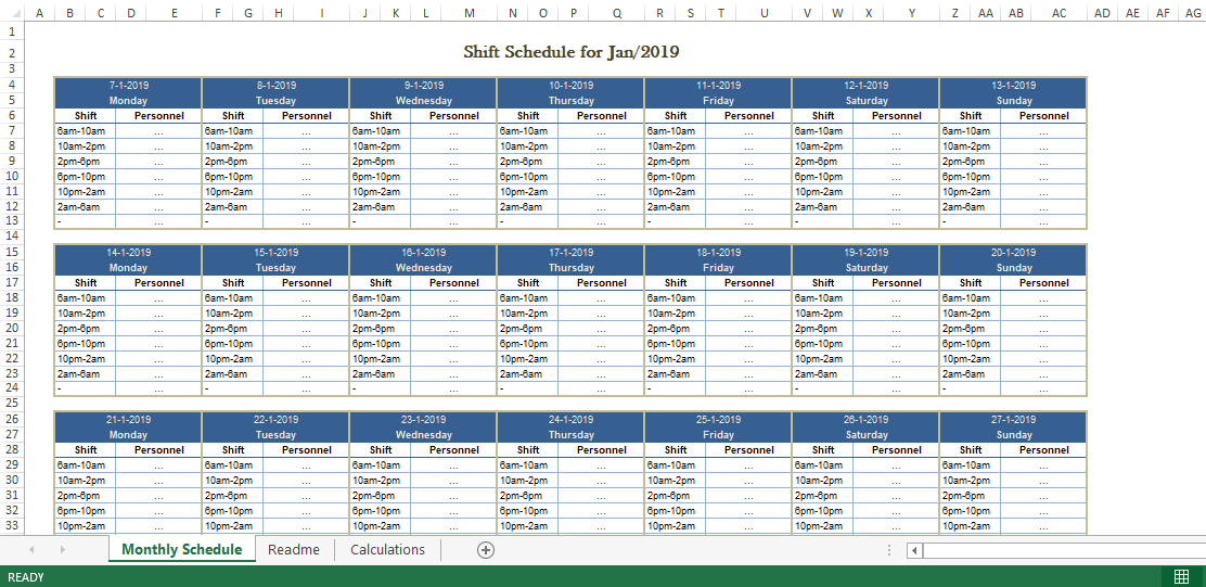 monthly shift schedule template excel free  Employee Monthly Shift Schedule Excel template | Templates ..
