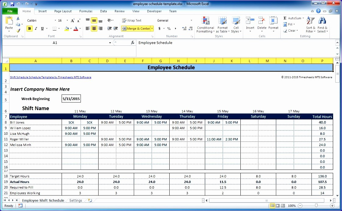 excel schedule template for multiple employees  7 Free Excel Timesheet Template Multiple Employees - Excel ..