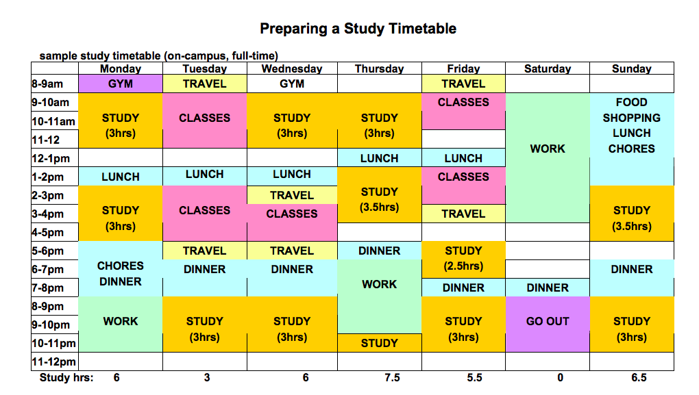 timetable template for students  Daily Study Timetable For Students | Top Form Templates - timetable template for students