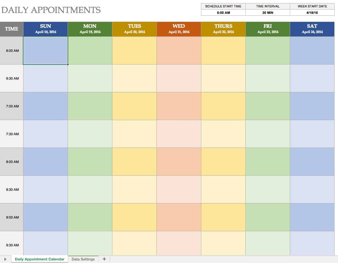 daily appointment calendar template excel  Free Excel Calendar Templates - daily appointment calendar template excel